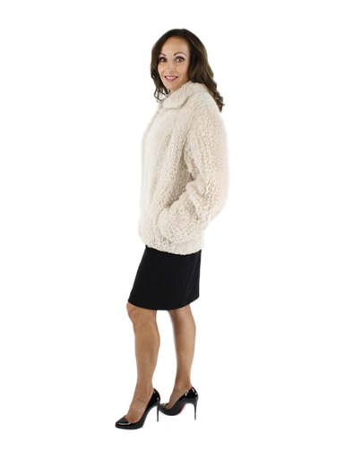 Rose Beige Sheared Beaver Knit Jacket
