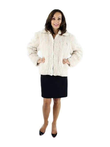 Rose Beige Sheared Beaver Knit Jacket