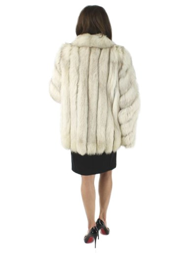 Blue Fox Fur Jacket w/ Diagonally Designed Sleeves
