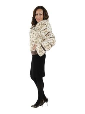 Animal Print Mink Fur Jacket w/ Hood