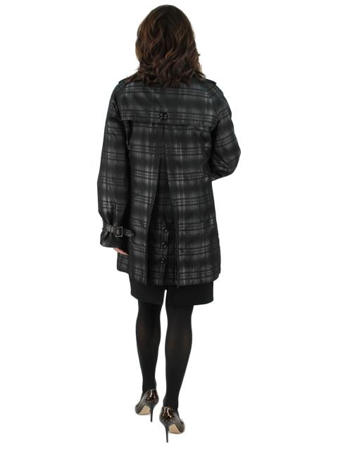 New Woman's Black Fabric Jacket with Rabbit Trim