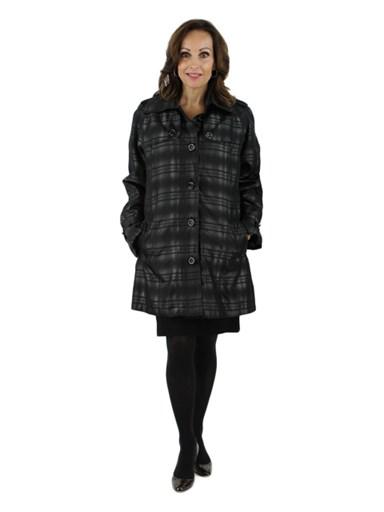 Fabric Jacket w/ Rabbit Fur Trim