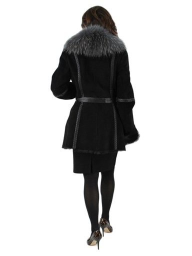 Suede Jacket w/ Finish Raccoon Fur Trim