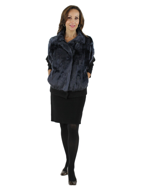 New Gorski Woman's Navy Lamb Fur Jacket