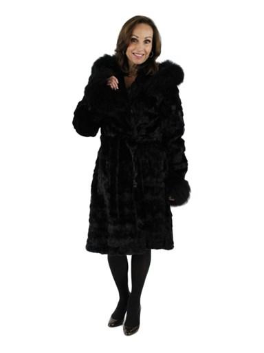 Mink Fur Section Stroller w/ Fink Raccoon Trim