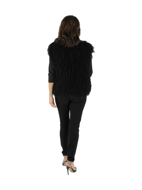 New woman's Black Tibetan Lamb Vest