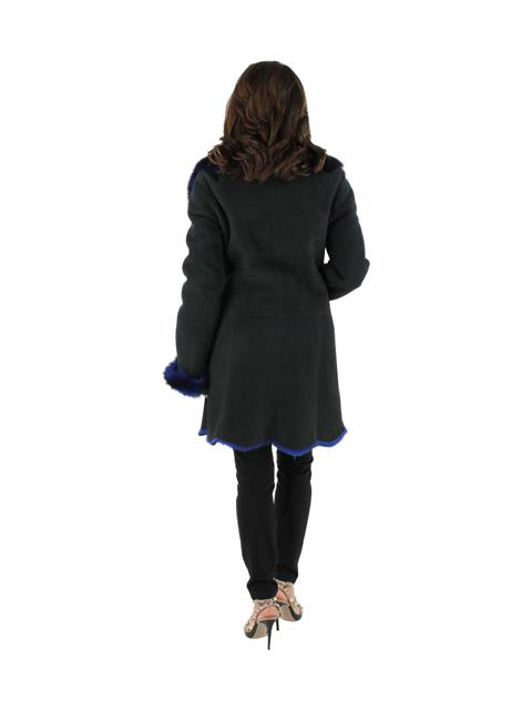 NEW Woman's Magnet Blue Shearling Lamb Jacket
