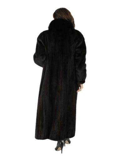 Ranch Mink Fur Coat w/ Fox Tuxedo