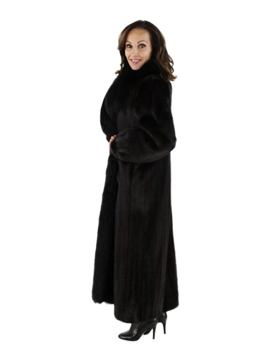 Ranch Mink Fur Coat w/ Fox Tuxedo