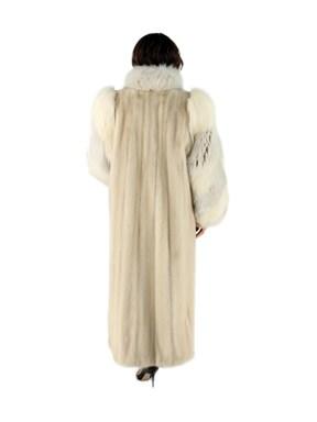 Blush Mink Fur Coat w/ Matching Fox Sleeves