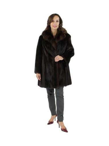 Female Mink Fur Stroller w/ Sable Collar