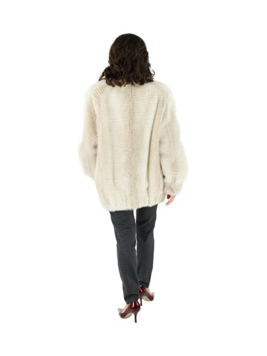 Two Tone Mink Fur Zipper Jacket