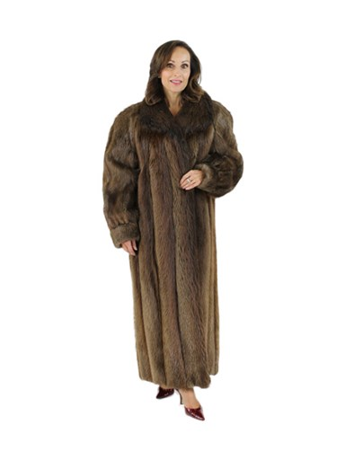 Medium Tone Long Hair Beaver Fur Coat