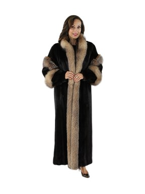 Mink Female Skin Fur Coat w/ Crystal Fox Trim