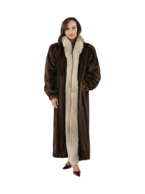 Mahogany Mink Fur Coat with Crystal Fox Tuxedo Front