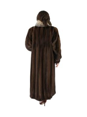 Mink Fur Coat w/ Fox Tuxedo Front