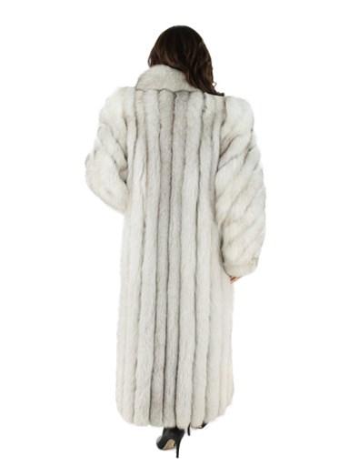 Blue Fox Fur Coat Diagonal Cut Sleeves