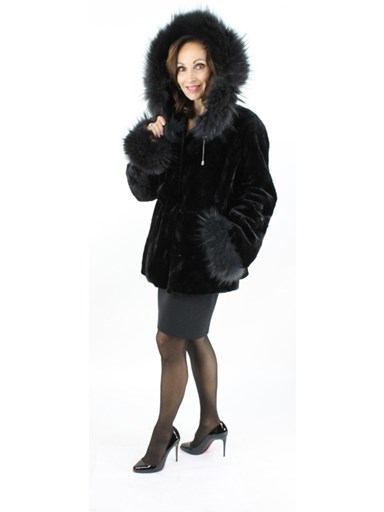 Sheared Mink Fur Parka w/ Finn Raccoon Trim