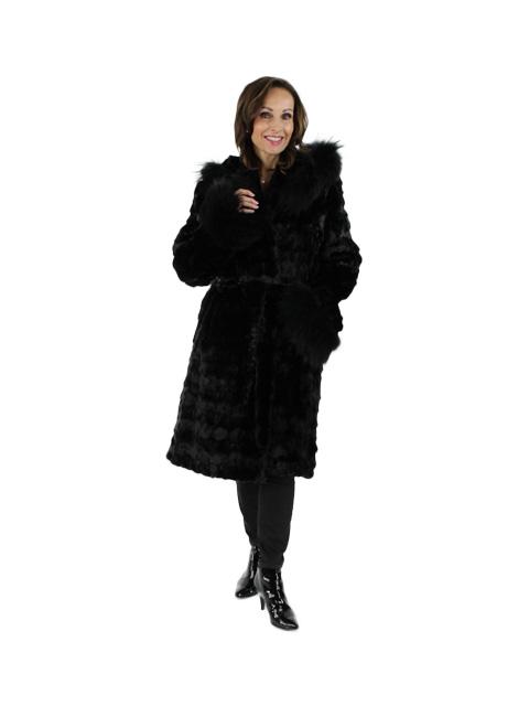 NEW Woman's Black Mink Section Fur Hooded Stroller
