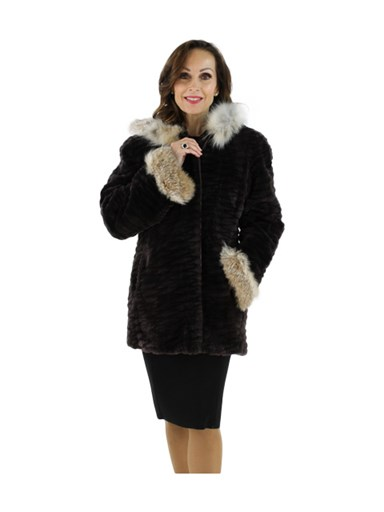 Matara Sheared and Grooved Beaver Fur Parka with Lynx Trim