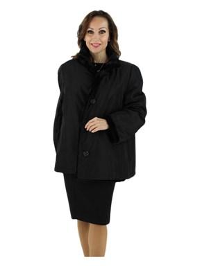 Sheared Mink Fur Jacket Reversible to Rain Fabric