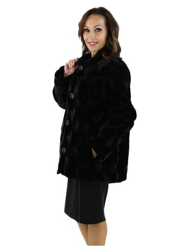 Sheared Mink Fur Jacket Reversible to Rain Fabric