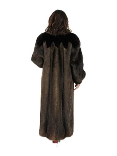 Long Hair Beaver Fur Coat w/ Sheared Beaver Trim