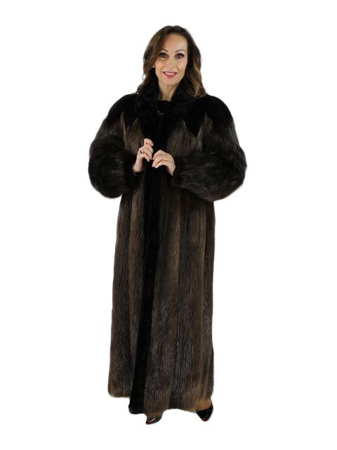 Long Hair Beaver Fur Coat with Sheared Beaver Trim