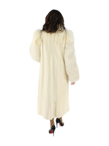 Tourmaline Mink Fur Coat w/ Fox Tuxedo and Sleeves