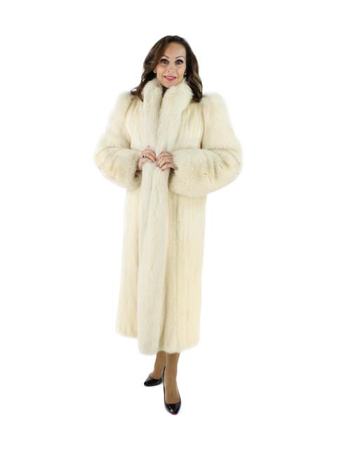 Tourmaline Mink Coat with Fox Tuxedo and Sleeves