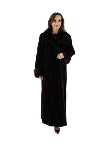 Sheared Mink Fur Reversible Coat w/ Traditional Mink Trim
