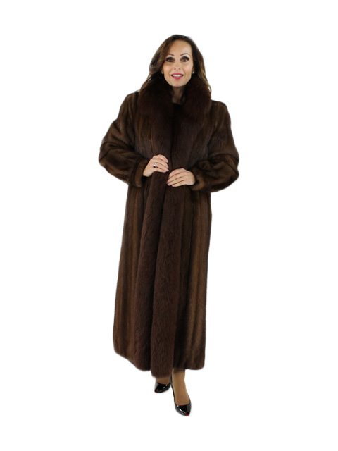Mahogany Mink Fur Coat with Fox Tuxedo Front