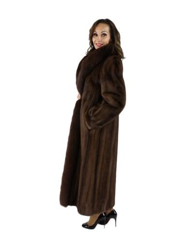 Mink Fox Fur Coat w/ Fox Tuxedo Front