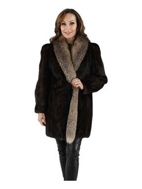 Mink Fur Stroller w/ Crystal Fox Tuxedo