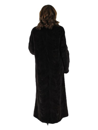 Sectioned Sheared Mink Fur Coat