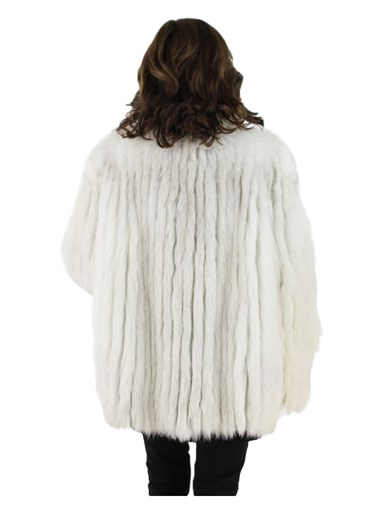 Blue Fox Fur Cord Cut Jacket