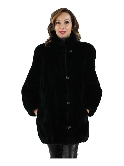 Black Olive Sheared Beaver Fur Jacket