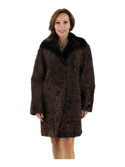 Woman's Brown Swakara Fur Stroller with Mink Fur Collar