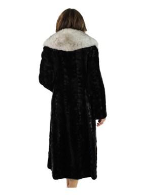 Ranch Mink Fur Section Coat w/ Large Blue Fox Collar