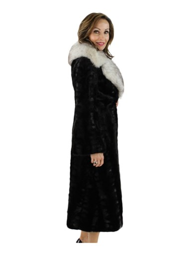 Ranch Mink Fur Section Coat w/ Large Blue Fox Collar