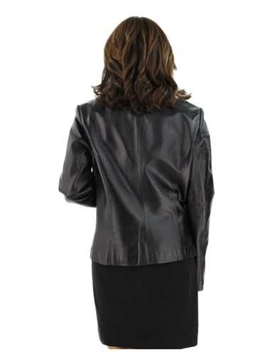 Leather Jacket w/ Silver Fox Fur Detachable Collar