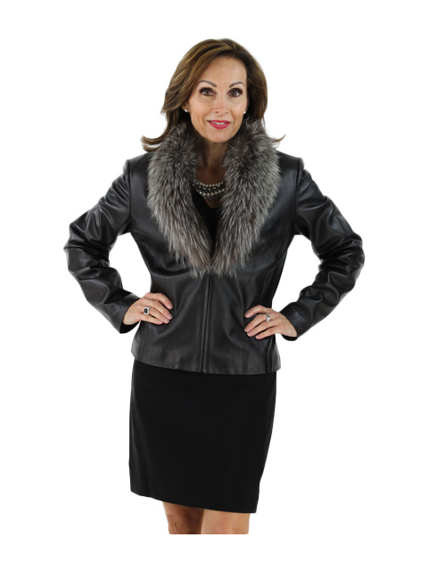 Leather Jacket W Silver Fox Fur Detachable Collar Women