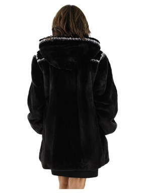Ranch Mink Jacket w/ Detachable Hood and Sheared Beaver Fur Trim