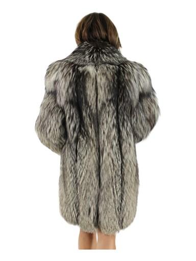 Natural Silver Fox Fur 3/4 Coat