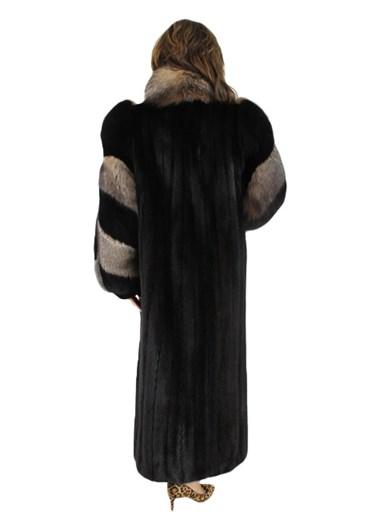 Mink Coat w/ Crystal Fox Tuxedo and Sleeves