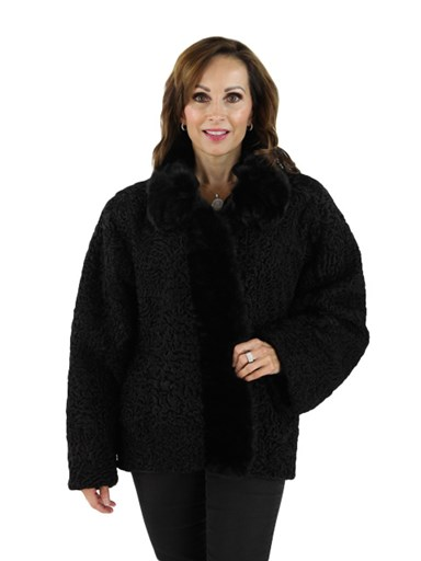 Persian Lamb Fur Jacket w/ Mink Trim