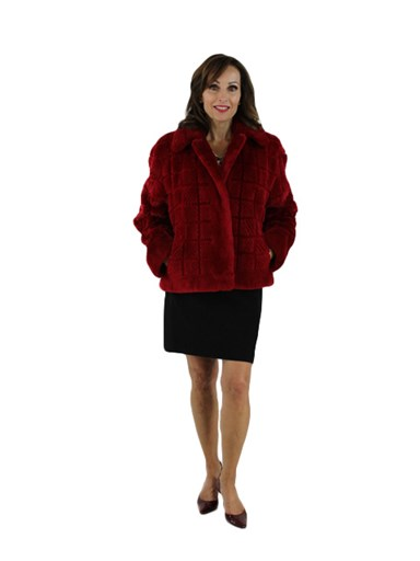 Sheared and Grooved Beaver Fur Jacket