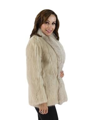 Mink Fur Cord Cut Jacket with Fox Tuxedo