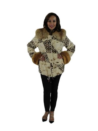 Animal Print Sheared Mink Fur Jacket
