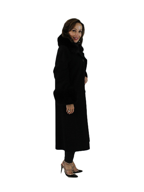 Black Wool Coat with Fox Collar and Cuffs